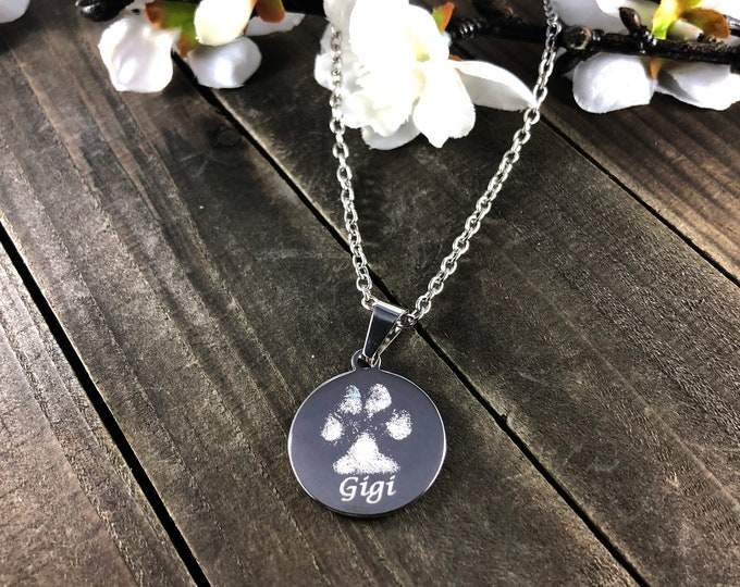 Real pawprint necklaces • engraved keepsakes