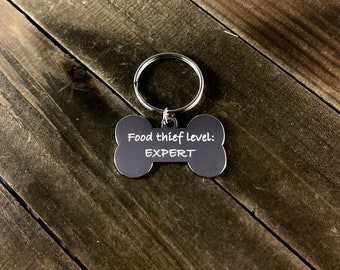 """Funny dog tag """"Food thief level: Expert"""""""