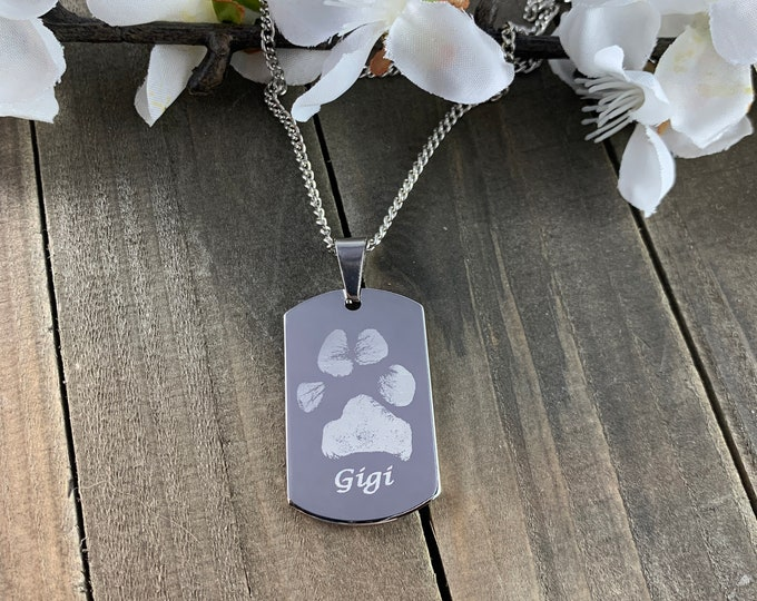 Real pawprint necklaces • engraved paw print keepsakes