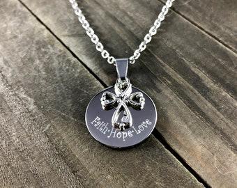 Faith Hope Love Necklace • Cross pendant