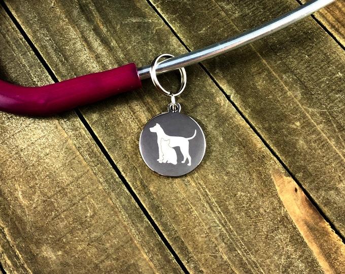 Dog silhouette stethoscope tag • Custom stethoscope ID tag