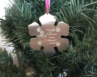 Snowflake Christmas ornament • Engraved Christmas ornament Love doesn't melt