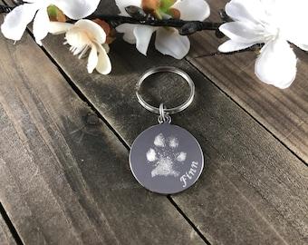 Real pawprint keychains • engraved keepsakes