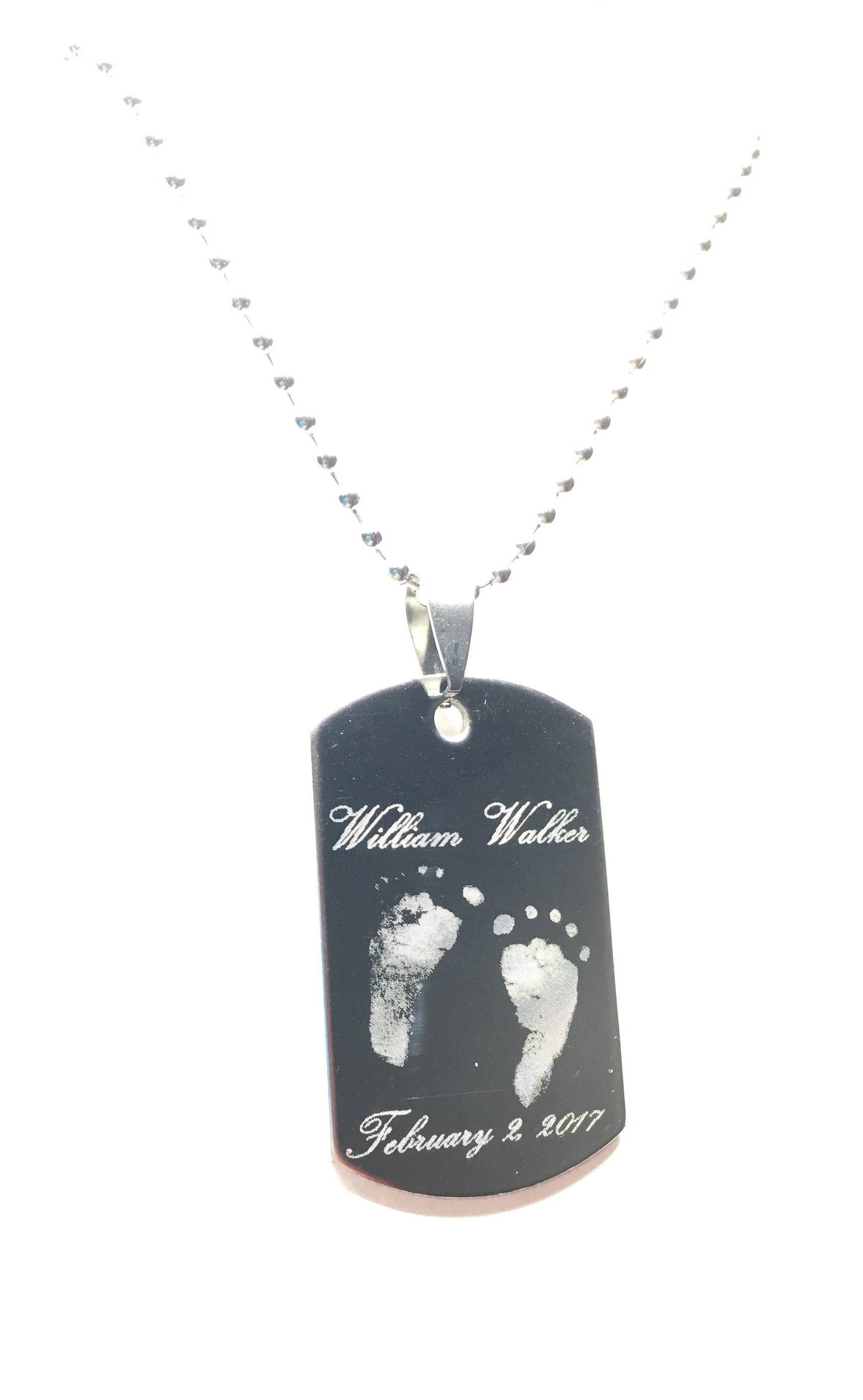 baby footprint necklaces engraved keepsakes