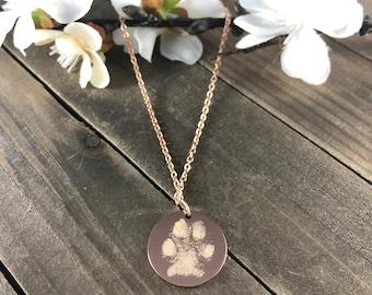Real pawprint necklaces • engraved paw print keepsakes