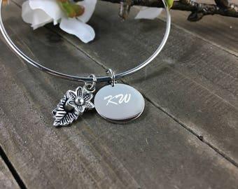 Leaf and flower Charm Bracelet • Engraved Bangle charm bracelet