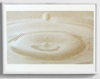 Soul Droplet / Artistic decorative wall art with optical illusion / Luxury / Gift / Line Halftone