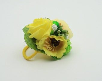 Yellow headpiece etsy yellow flower hair tie boho hair piece festival hair accessory girl hair tie bridesmaid gift wedding headpiece mothers day gift for her mightylinksfo