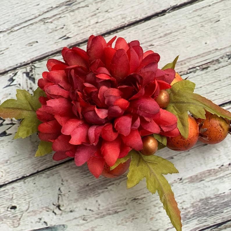 Red bridal flower clip Woodland hair clip Burnt orange hair piece Wedding flower clip Chrysanthemum hair clip Rustic hair accessory