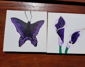 Purple Butterfly and Lily Paintings