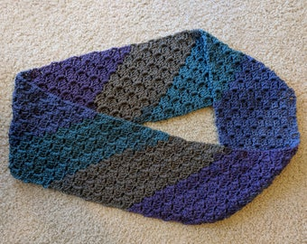 Crocheted Mobius Scarf in Blueberry Torte
