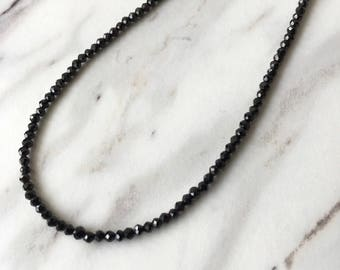 Black necklace, choker, simple jewelry, black spinel necklace black gemstone jewelry 14k healing necklace dainty necklaces jewelry gift