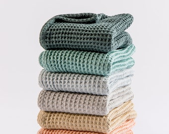 Waffle Baby Blankets in natural earthy colors - made from soft and lofty waffle gauze - 100% cotton - baby girl, baby boy