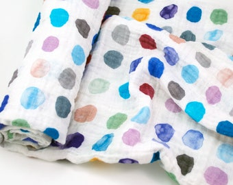 "Muslin Swaddle Blanket in Blue Watercolor Dots - made from 100% cotton double gauze - 45"" square"