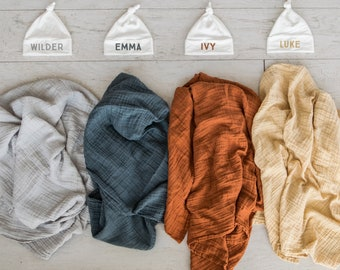 ddb82b4d429 Baby Blanket   Hat Set - solid color muslin swaddle with matching baby name  hat - newborn photo or going home outfit