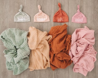 Muslin Baby Blanket & Color Hat Set - personalized name hat with matching muslin swaddle
