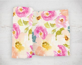 "New! Watercolor Garden Floral Baby Swaddle Blanket - made from 100% cotton double gauze muslin - 45"" square - pink and peach floral"