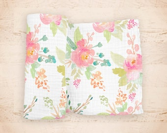 "Spring Blooms Baby Swaddle Blanket - made from 100% cotton double gauze muslin - 45"" square - pink and peach watercolor floral"