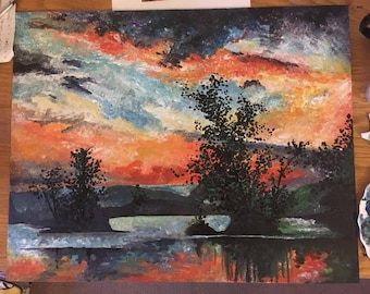 Sunset over the lake Acrylic painting