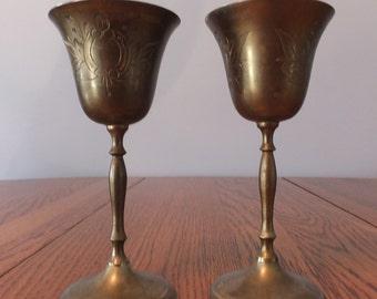 Vintage Etched Brass Wine Glasses / Goblets