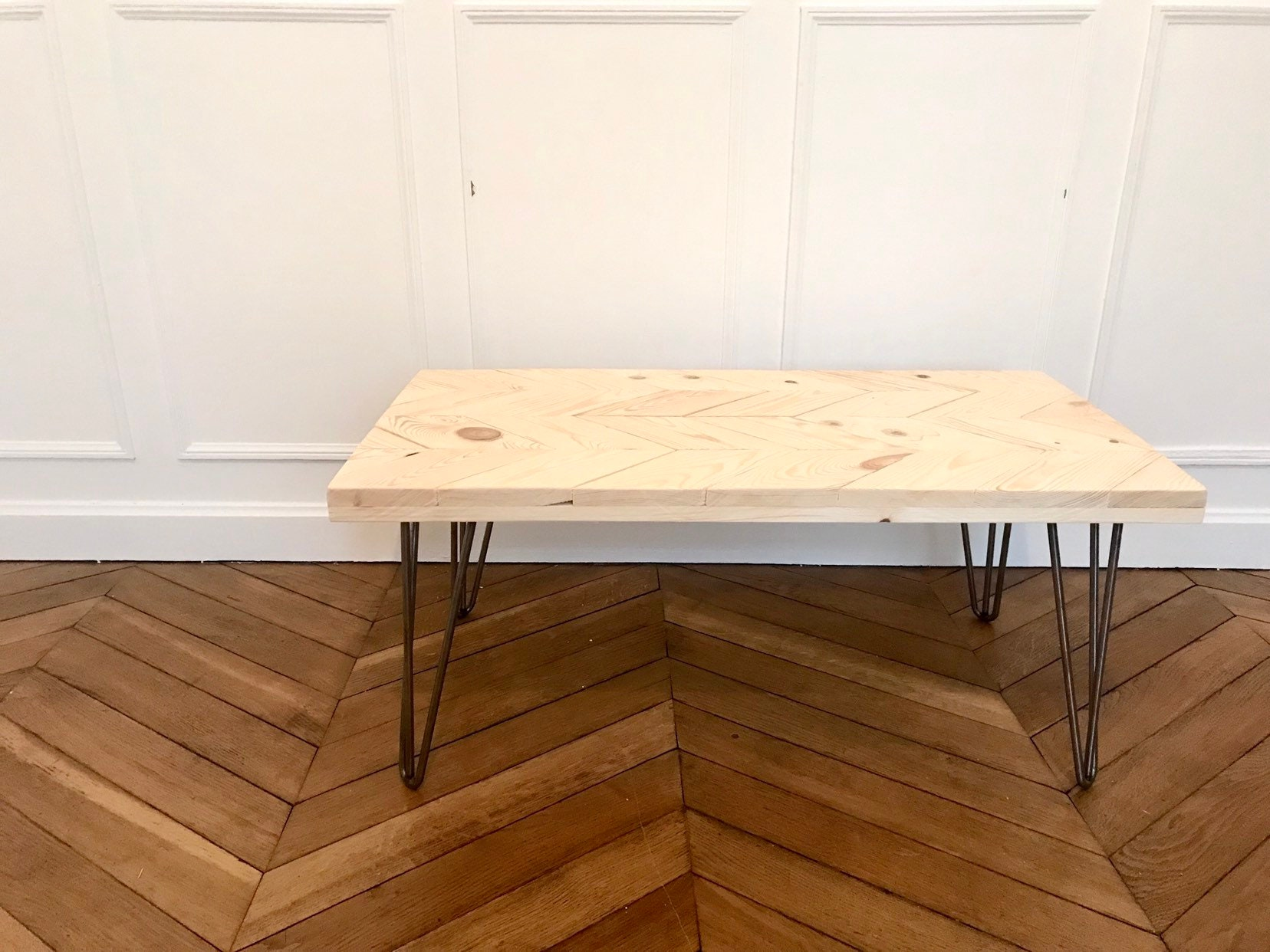 Industriel Table Basse Palette table low wood metal
