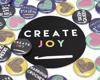 CREATE JOY crochet hook vinyl sticker. Perfect gift for crocheters! By Harbour Crochet