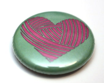 Mint & Pink Yarn Heart button badge. Perfect gift for crocheters; handdyed; indie dyers; knitters! Harbour Crochet