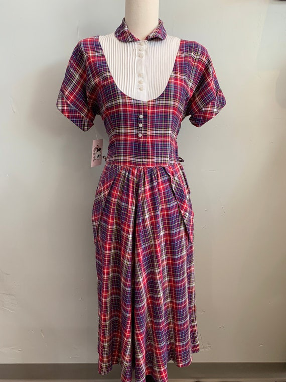 Late 1940s/Early 1950s Red & Blue Plaid Dress by ""