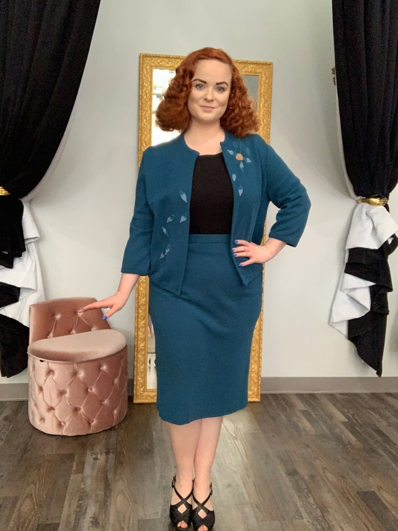 """1960s Teal Knit Two Piece Skirt & Jacket Set by """"B"""