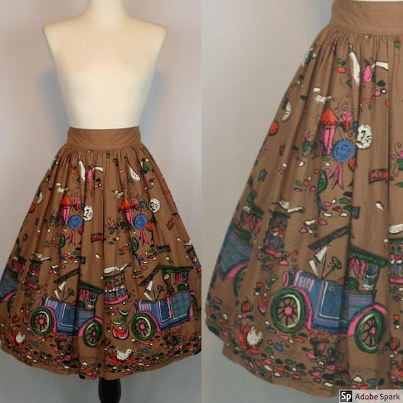 "1950s MILLWORTH ""State Fair"" Novelty Print Skirt ("