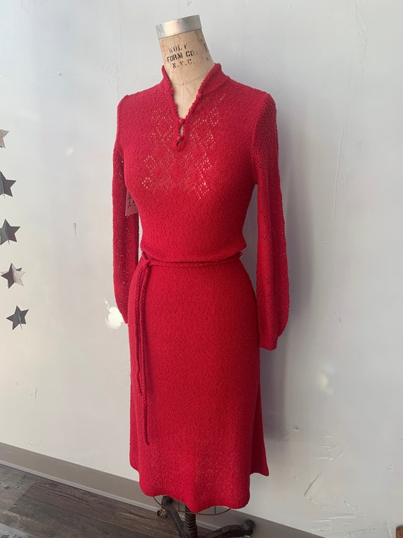 "1970s Raspberry Red Knit Dress by ""MSII"""