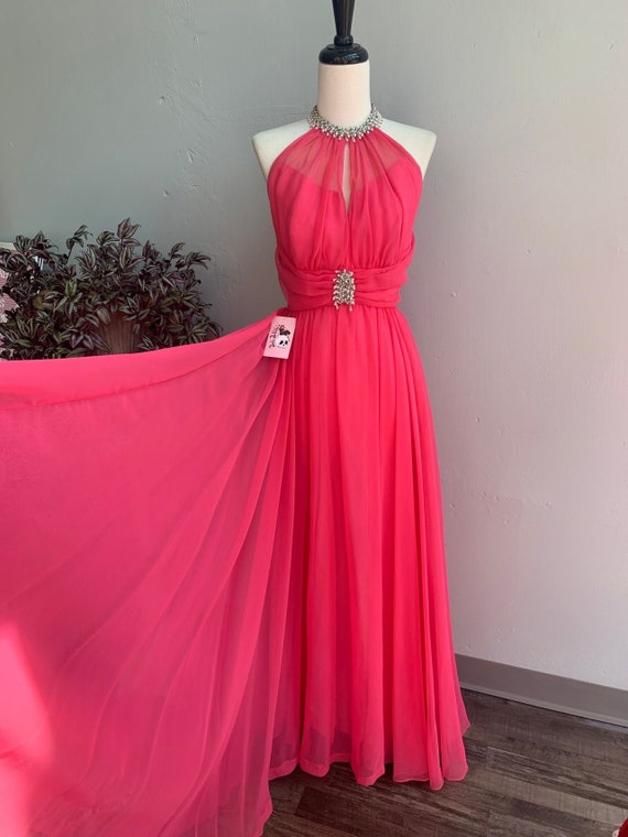 50/% OFF SPRING SALE Vintage 1990s Hot Pink Sequin Beaded Silver Sweetheart Cut Tutu Sheer Formal One Shoulder Prom Dress Gown Sz Small
