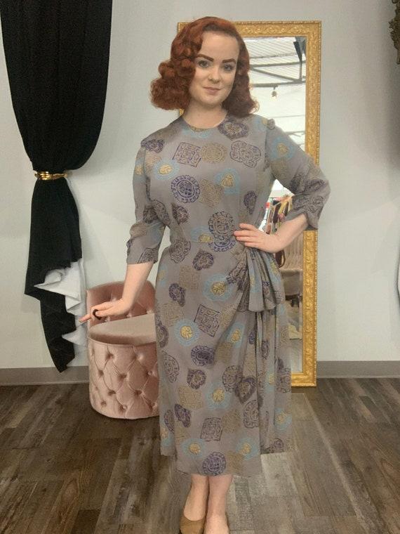 1940s Silk Medallion Novelty Print Dress with Hip