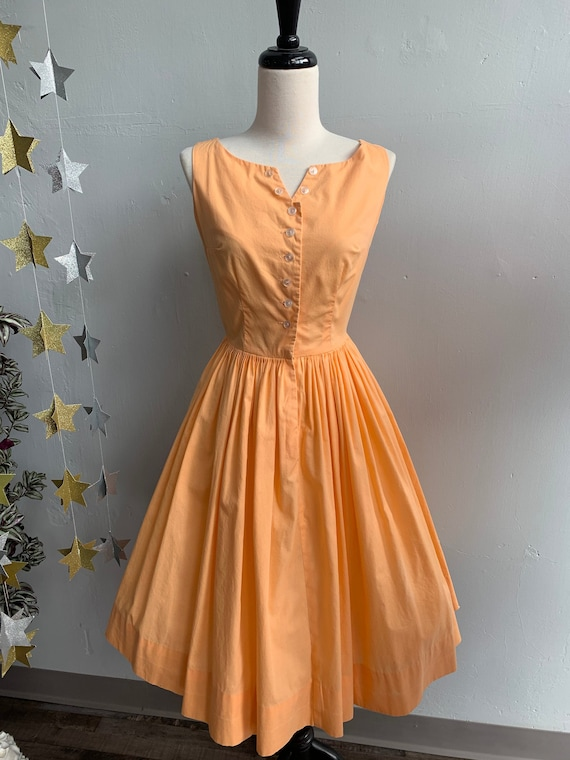 1950s Orange Dreamsicle Cotton Sundress