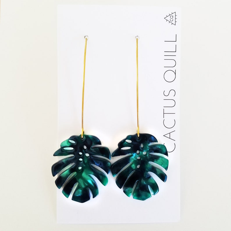 Tropical Monstera Leaf Acetate Minimalist Earrings image 0