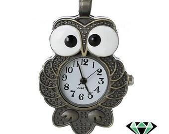 Bronze OWL pocket watch dial