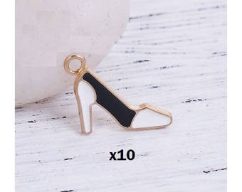 x 10 metal shoe high heel black and white charm