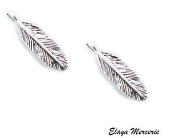 x 2 silver metal feather charms