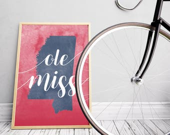 Ole Miss Red, Navy Blue, & White Watercolor Art Print, Wall Decor