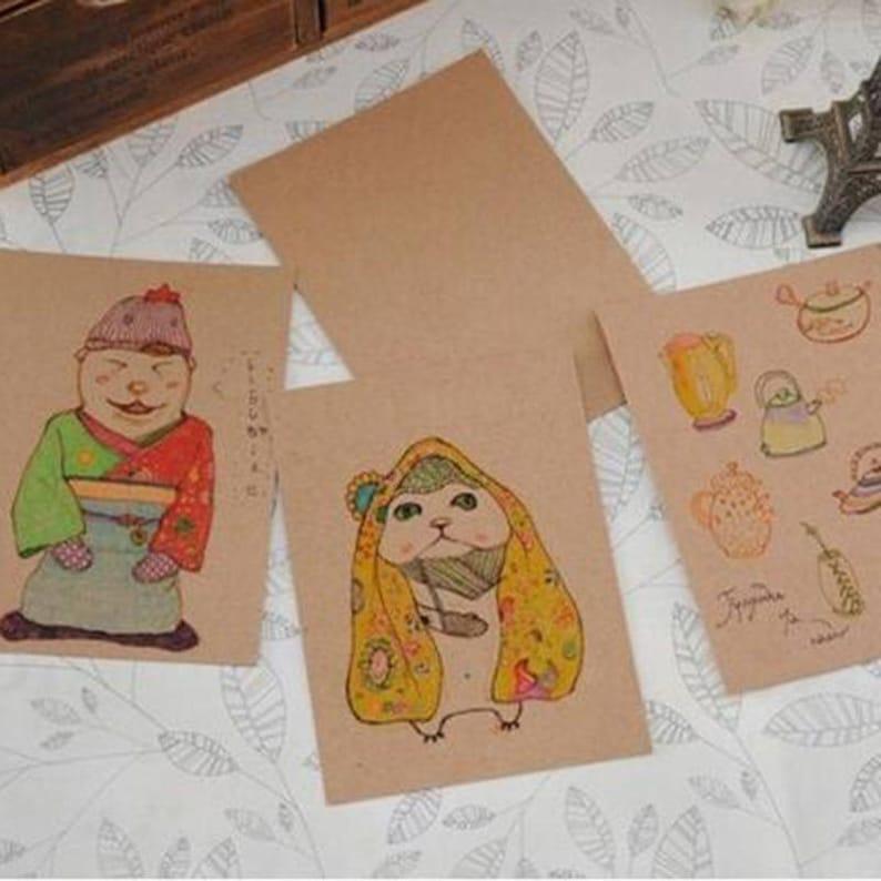 10 cm 20 pcslot DIY Vintage Retro Kraft Paper Postcards Blank Paper Greet Cards Korean Stationery 14.8