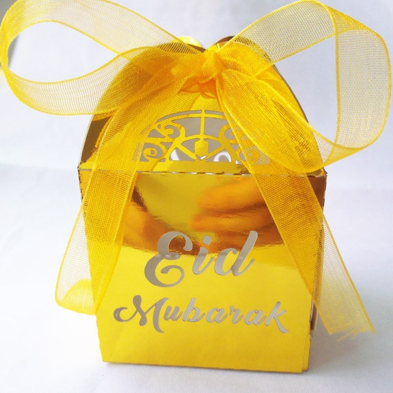 50pcs //lot hot sale gold silver happy Eid Mubarak paper gift box ramadan