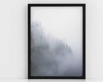 Scandi Dark Forest FRAMED|Scandi Decor|Tropical Wall Art|Living Room Decor|Bedroom Decor|Black and White|Modern Art|Botanical