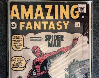 AMAZING FANTASY #15 Silver Age Comic Book Spiderman Classic Cover Hand Made Art