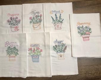 Superb Herbs - Set of 7 Hand Embroidered TeaTowels