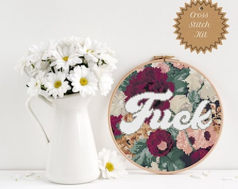 Counted Cross Stitch Kit:  Dark Floral Fuck, Mature and Snarky, Vintage Inspired, Large, DIY Crafts for Adults, Sweary Gifts