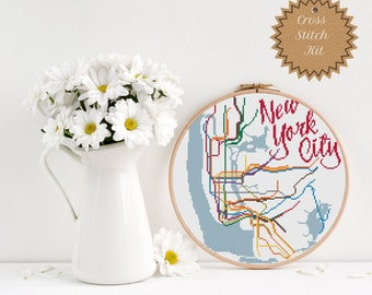 1900 Subway Map New York City.Pdf Pattern New York City Transit Map Cross Stitch Etsy