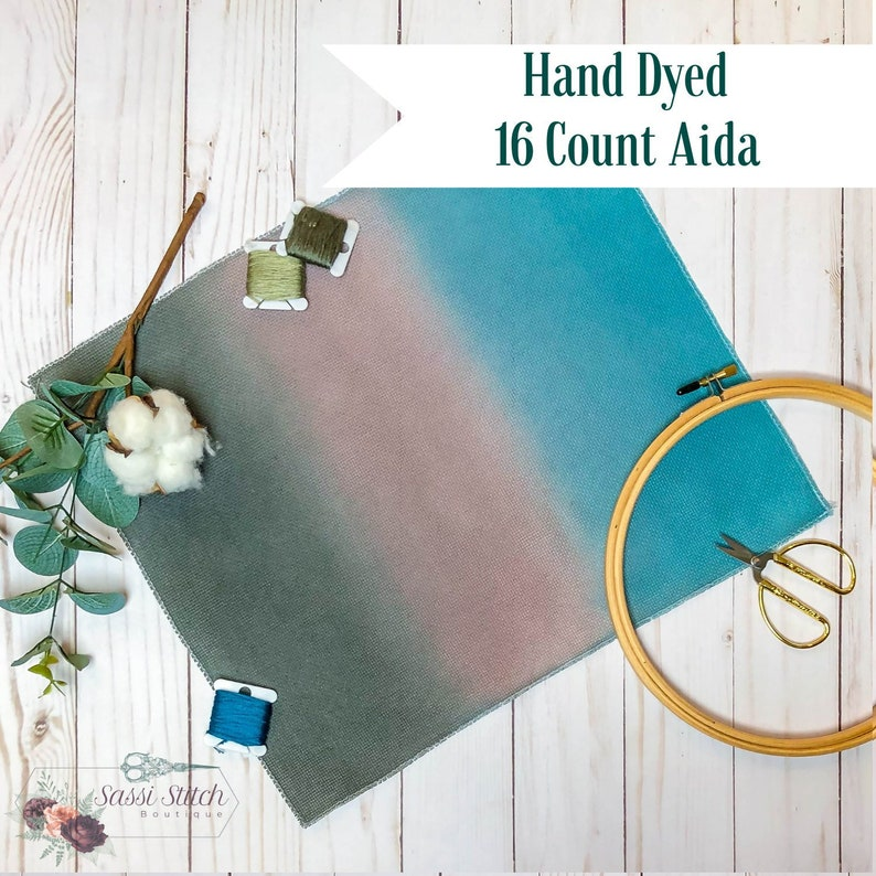 Hand Dyed 16 Count Aida Cross Stitch Cloth, Turquoise, Taupe and Olive Hand  Painted Ombre Fabric - 14