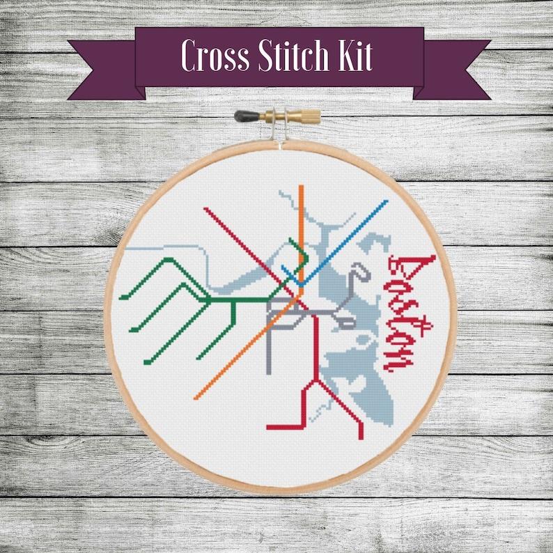 Kit: Boston Transit Map Cross Stitch | Etsy