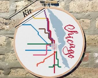 Kit: Chicago Transit Map Cross Stitch Kit/Beginner/CTA/Subway/DIY Craft/City Map/Midwest/Modern/Train/Subversive