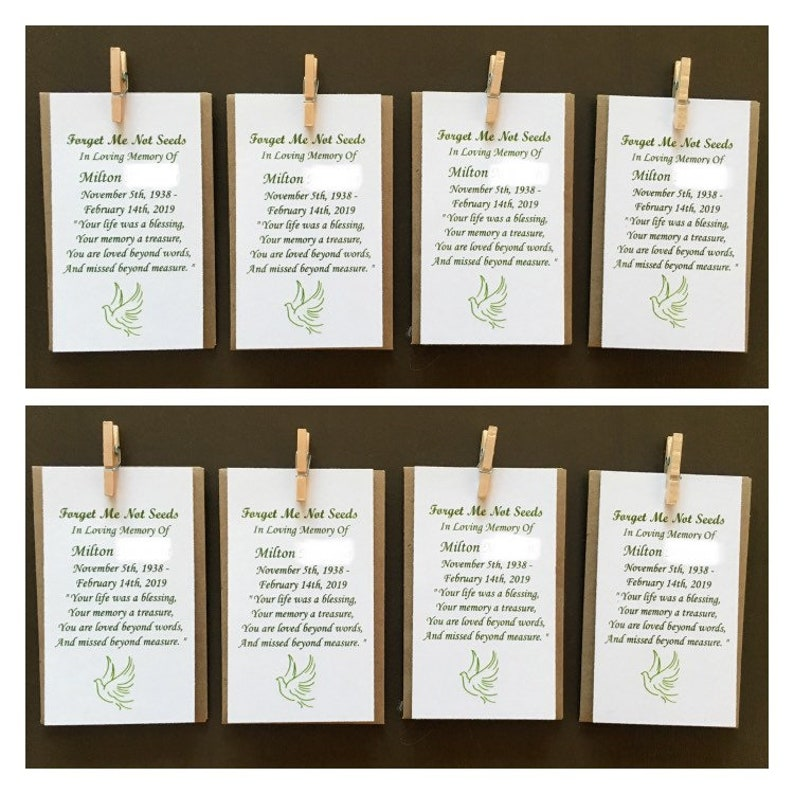 Memorial seed packets sage green - funeral favors, forget me not seeds  (SEEDS INCLUDED) custom message